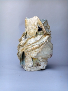 "Porcelain, wood fired, 13""h. x 9""w. Hambidge Anagama, September 2013"
